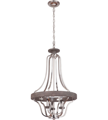 Craftmade 36543-PLNGRW Ashwood 3 Light 20 inch Polished Nickel and Greywood Pendant Ceiling Light photo