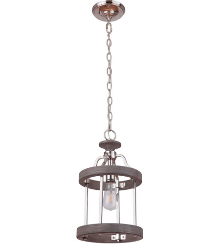 Craftmade 36591-PLNGRW Ashwood 1 Light 10 inch Polished Nickel and Greywood Mini Pendant Ceiling Light photo