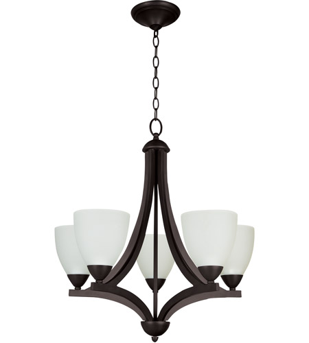 Craftmade 37725-OLB-WF Almeda 5 Light 24 inch Old Bronze Chandelier Ceiling Light in White Frosted Glass photo