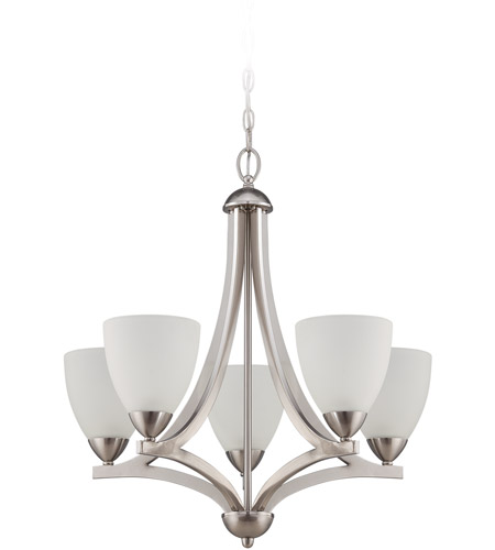 Craftmade 37725-SN Almeda 5 Light 24 inch Satin Nickel Chandelier Ceiling Light in Frost White photo