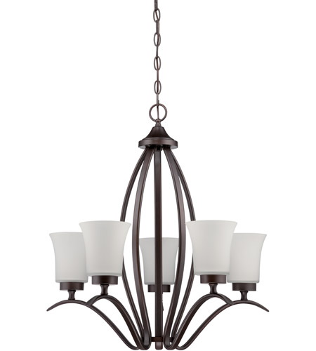 Aged Bronze Brushed Steel Chandeliers