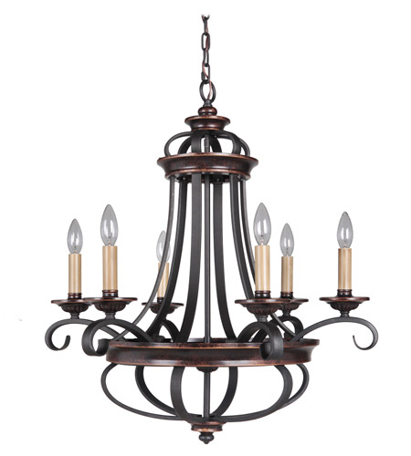 Craftmade 38726-AGTB Stafford 6 Light 26 inch Aged Bronze/Textured Black Chandelier Ceiling Light photo