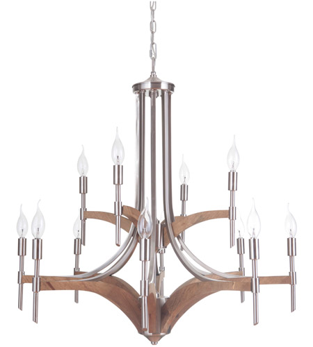 Craftmade 40312-BNKWB Tahoe 12 Light 30 inch Brushed Nickel and Whiskey Barrel Chandelier Ceiling Light in Brushed Nickel/Whiskey Barrel, Jeremiah photo