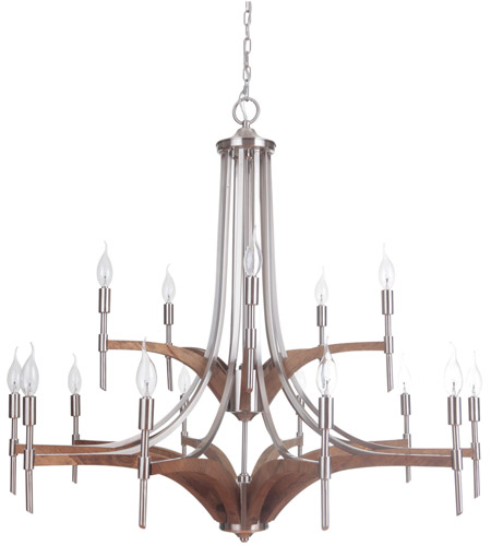 Brushed Nickel Wood Chandeliers