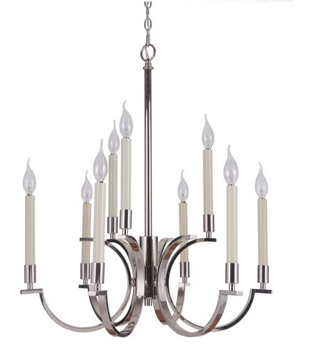 Craftmade 40429-PLN Crescent 9 Light 25 inch Polished Nickel Chandelier Ceiling Light, Jeremiah photo