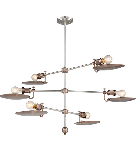 Craftmade 42326-PLNSRG Eclipse 6 Light 44 inch Polished Nickel and Satin Rose Gold Chandelier Ceiling Light alternative photo thumbnail