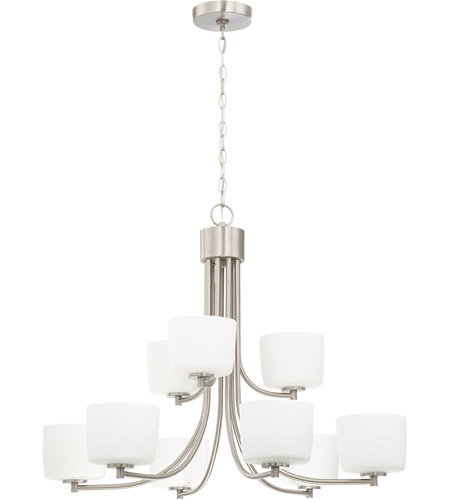 Brushed Polished Nickel Steel Clarendon Chandeliers
