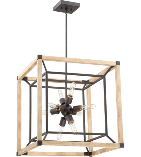 Craftmade 43738-TBDO Tesseract 8 Light 21 inch Textured Black/Distressed Oak Chandelier Ceiling Light photo