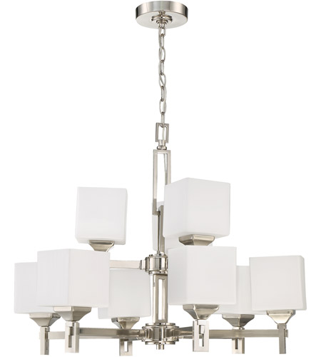 Brushed Steel Glass Chandeliers