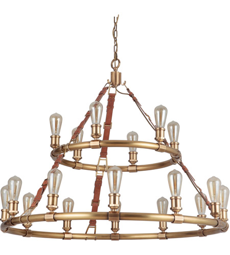 Vintage Brass Leather Chandeliers