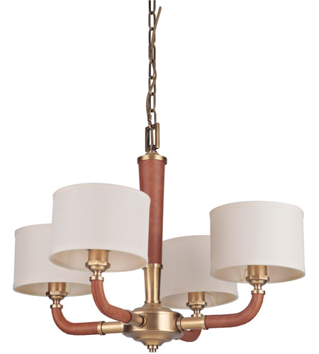 Vintage Brass Leather Huxley Chandeliers