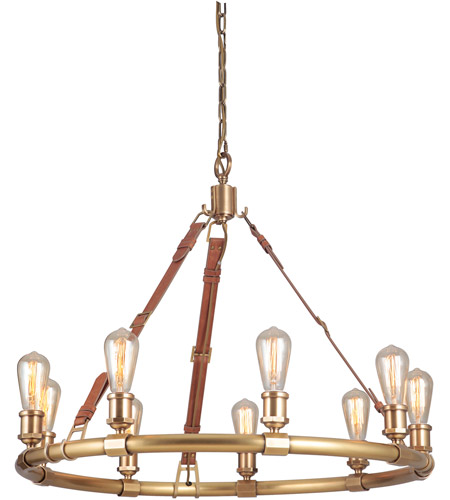 Craftmade 48129-VB Huxley 9 Light 34 inch Vintage Brass Chandelier Ceiling Light, Gallery Collection alternative photo thumbnail