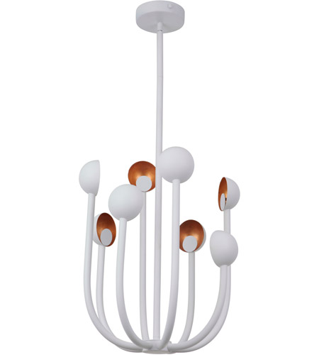 Craftmade 49228-MWWGL-LED Foundry LED 19 inch Matte White and Gold Leaf Chandelier Ceiling Light photo