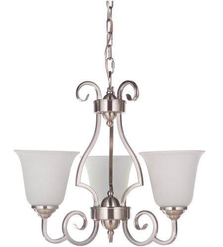 Craftmade 7120BNK3-WG Cecilia 3 Light 20 inch Brushed Satin Nickel Chandelier Ceiling Light in Brushed Polished Nickel, White Frosted Glass, Jeremiah photo