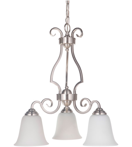 Craftmade 7121BNK3-WG Cecilia 3 Light 20 inch Brushed Satin Nickel Down Chandelier Ceiling Light in Brushed Polished Nickel, White Frosted Glass, Jeremiah photo