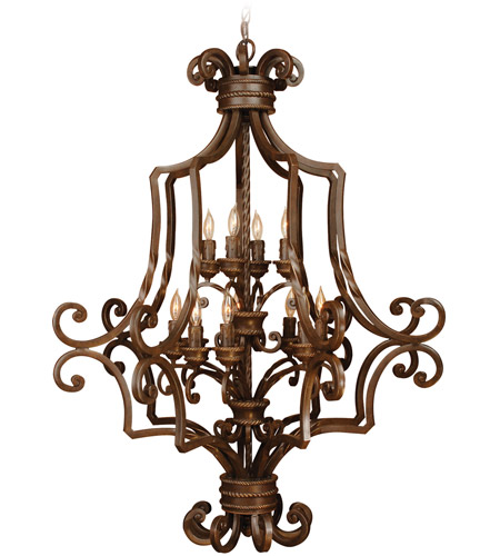 Craftmade 8133AG12 Riata 12 Light 33 inch Aged Bronze Textured Foyer Light Ceiling Light, Cage photo