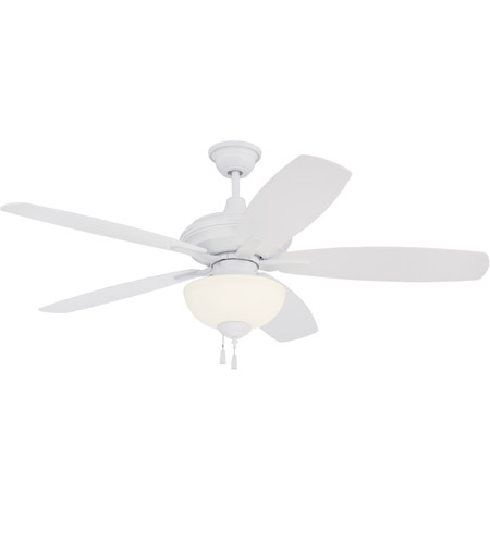 Craftmade CN52W5 Copeland 52 inch White with Reversible White Blades Ceiling Fan in White Frosted Glass, Blades Included photo