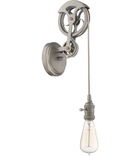 Craftmade CPMKPW-1AGV Design-A-Fixture Aged Galvanized Pulley Wall Sconce  Hardware, Shades Not Included