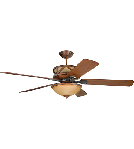 Craftmade DL60DMI5CRW Deer Lodge 60 inch Dark Mahogany and Iron with Reversible Mahogany and Pine Blades Ceiling Fan in Tea-Stained Glass, Blades Included photo