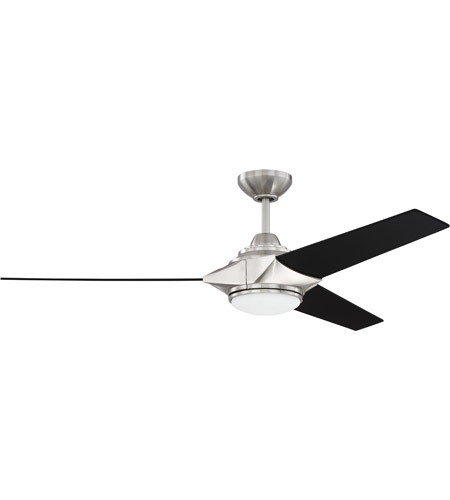 Craftmade Ech54bnk3 Echelon 54 Inch Brushed Polished Nickel With Flat Black Blades Ceiling Fan Included