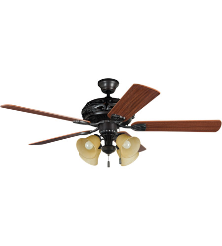 Craftmade GD52ABZ5C Grandeur 52 inch Aged Bronze Brushed with Reversible Dark Oak and Mahogany Blades Ceiling Fan in 4, Tea-Stained Glass, Blades Included photo