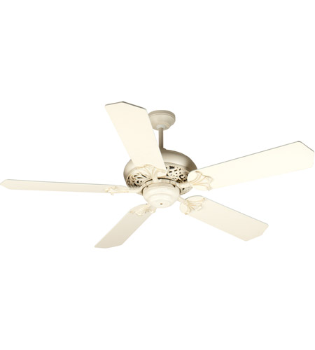 Craftmade K10325 Mia 52 inch Antique White Distressed with Antique White Blades Ceiling Fan Kit in Tea-Stained Glass, Standard Antique White photo