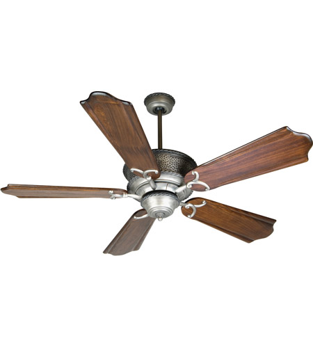 Riata 56 Inch Antique Nickel With Clic Ebony Blades Ceiling Fan Kit In Pewter Light Sold Separately Custom Carved