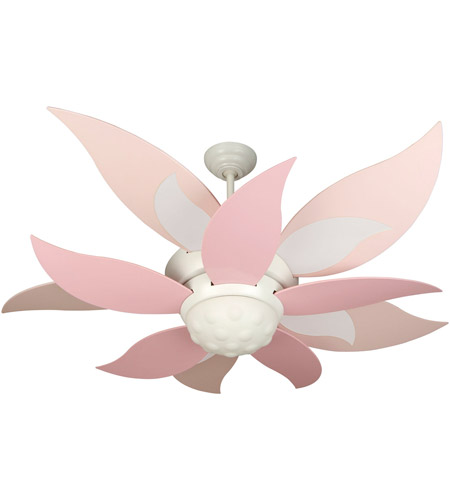Pink With A Fan 6 Blades : Craftmade k bloom inch white with pink and
