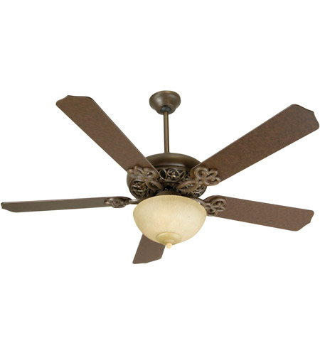 Craftmade K10617 Cecilia Unipack 52 inch Aged Bronze Textured with Aged Bronze Blades Ceiling Fan Kit in Contractor Standard, Tea-Stained Glass, Blades Included photo