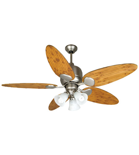 Craftmade K10707 Kona Bay 54 Inch Brushed Satin Nickel With Oak Bamboo Blades Ceiling Fan Kit In Alabaster Swirl Gl Tropic Isle 0 Solid Wood