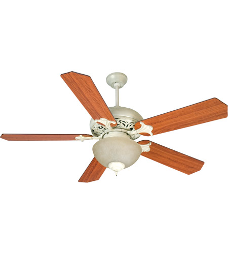 Craftmade K10723 Mia 52 inch Antique White Distressed with Reversible Cherry and Rosewood Blades Ceiling Fan Kit in Reversible Cherry/Rosewood, MDF Blades, Standard, Tea-Stained Glass, Blades Included photo