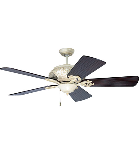 Craftmade K10726 Ophelia 54 inch Antique White Distressed with Hand-Scraped Walnut Blades Ceiling Fan Kit in Premier Hand-Scraped Walnut photo