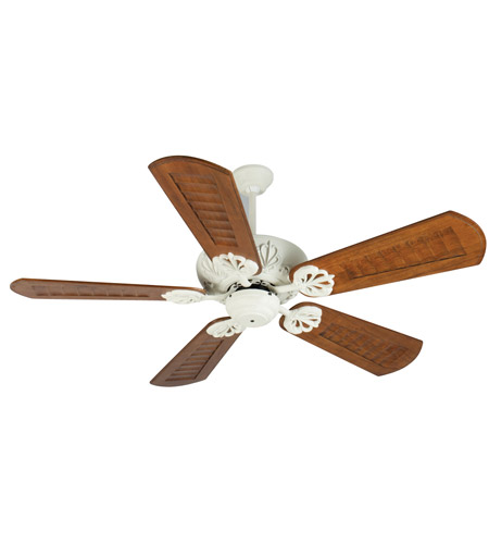cordova 56 inch antique white with scalloped walnut blades