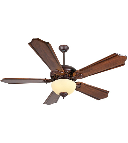 Craftmade K11011 Mia 56 inch Oiled Bronze Gilded with Classic Ebony Blades Ceiling Fan Kit in Amber Frost Glass, Custom Carved, Solid Wood Blades, Blades Included photo