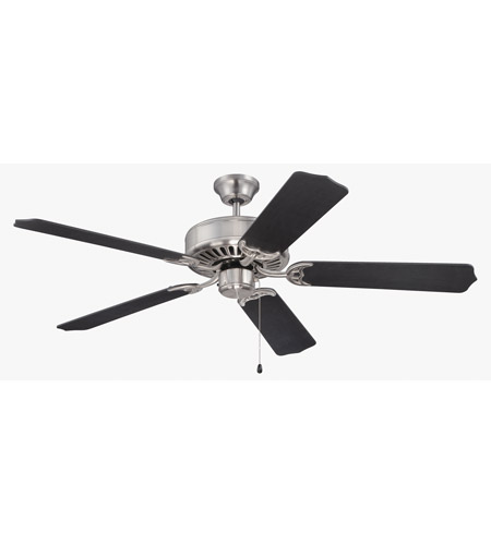 Craftmade K11135 Pro Builder 52 Inch Brushed Polished Nickel With Flat Black Blades Ceiling Fan Kit In Contractor Standard Included