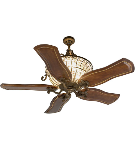 Craftmade K11142 Cortana 54 inch Peruvian Bronze with Walnut Blades Ceiling Fan Kit in Custom Carved, 3, Solid Wood Blades, Blades Included photo