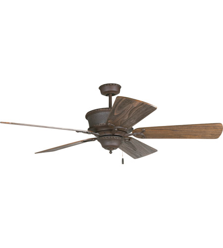 Riata 54 Inch Aged Bronze Textured With Rustic Dark Oak Blades Ceiling Fan Kit In Light Sold Separately Premier