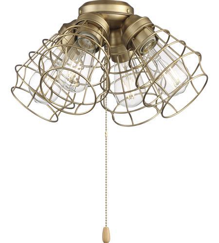 Craftmade Lk405101 Sb Led 4 Light Fitter And Glass Led Satin Brass Fan Light Kit Cage Shade