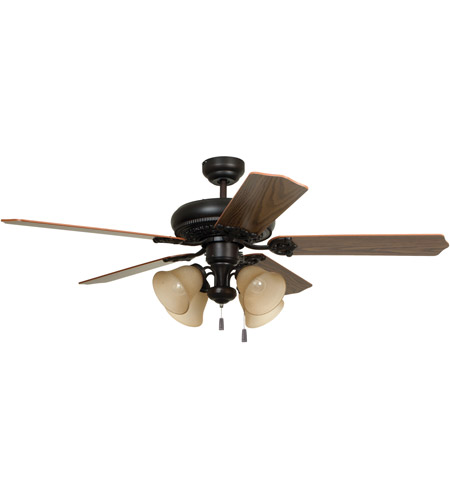 Craftmade MAN52ABZ5C4 Manor 52 inch Aged Bronze Brushed with Reversible Mahogany and Dark Oak Blades Ceiling Fan, Blades Included photo