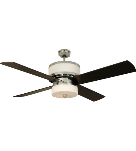 Craftmade MO56CH4 Midoro 56 inch Chrome with Black Blades Ceiling Fan in Matte Opal Glass, Blades Included photo