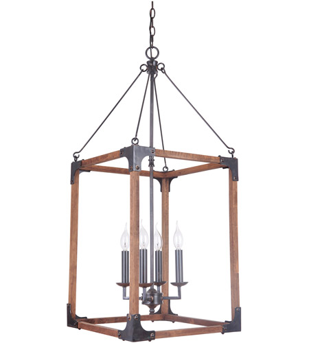 craftmade p592fsnw4 mason 4 light 17 inch fired steel and natural wood pendant ceiling light jeremiah