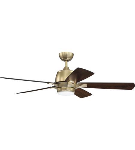 Stellar 52 Inch Satin Brass With Walnut Flat Black Blades Ceiling Fan In Remote Control