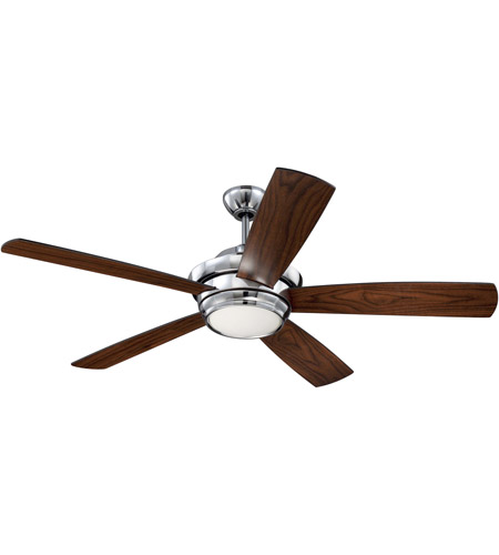 Craftmade Tmp52ch5 Tempo 52 Inch Chrome With Reversible Flat Black And Walnut Blades Ceiling Fan Included