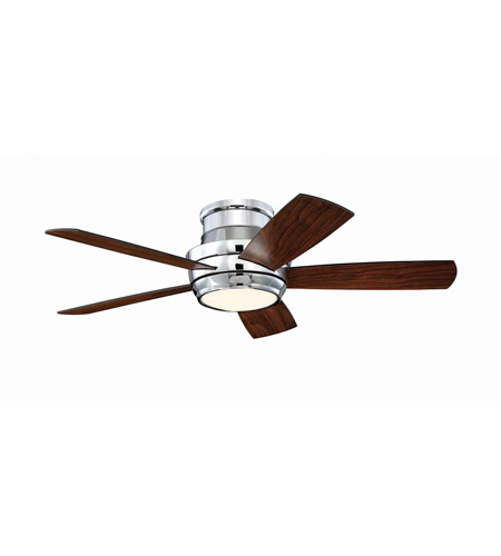 Craftmade TMPH44CH5 Tempo 44 inch Chrome with Reversible Walnut and Matte Black Blades Hugger Ceiling Fan photo