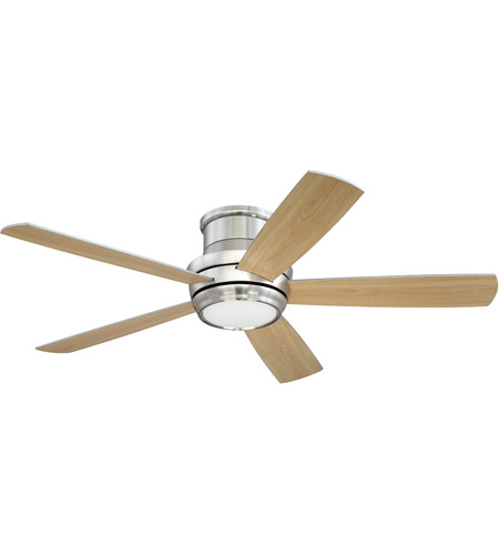 Craftmade TMPH52BNK5 Tempo 52 inch Brushed Polished Nickel with Reversible Silver and Maple Blades Hugger Ceiling Fan photo