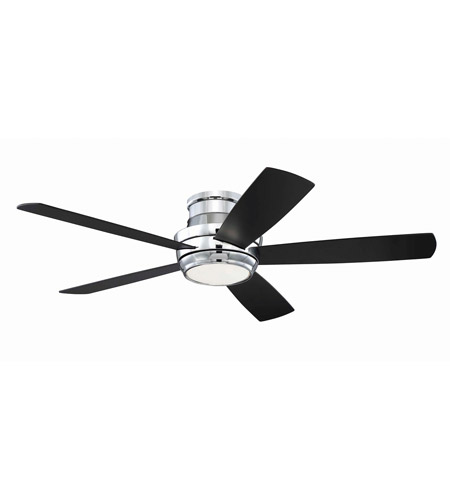 Craftmade Tmph52ch5 Tempo 52 Inch Chrome With Reversible Walnut And Flat Black Blades Hugger Ceiling Fan Included