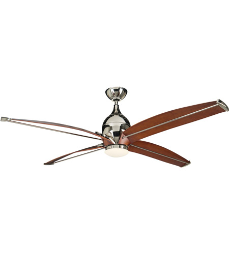 Craftmade TRD60PLN4 Tyrod 60 inch Polished Nickel with Classic Walnut Blades Ceiling Fan, Blades Included photo