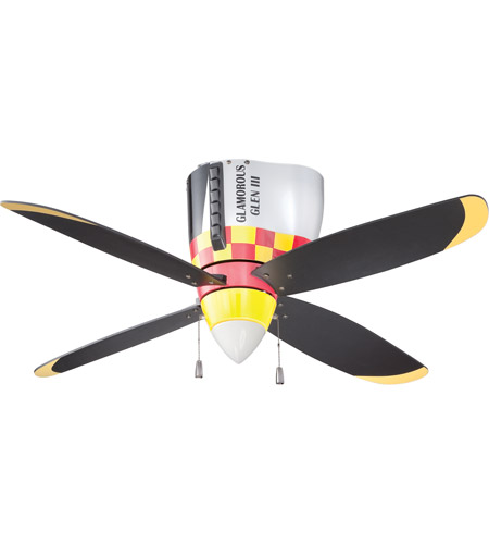 Craftmade WB448GG4 WarPlanes 44 inch WarPlanes Glamorous Glen with War Plane Blades Ceiling Fan in Cased White Glass, Blades Included photo