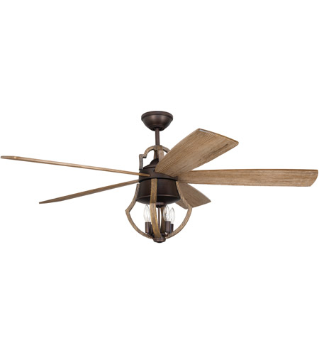 Craftmade WIN56ABZWP5 Winton 56 inch Aged Bronze Brushed and Weathered Pine with Weathered Pine Blades Ceiling Fan, Blades Included photo