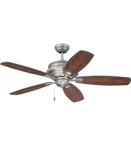 Craftmade YOR52AN5 Yorktown 52 inch Antique Nickel with Reversible Walnut and Black Blades Ceiling Fan, Blades Included photo